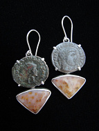 Sterling silver earrings featuring Ancient Roman Coins and Fossil Coral