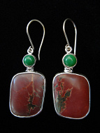 Sterling silver earrings featuring Cherry Creek Jasper with Chrysophrase accent stones