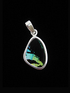 Tiny Aquamarine and Black (Urania leilus) Shimmerwing pendant with butterfly set in sterling silver