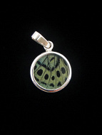 Tiny Sage Green Round (Callithea Philotima) Shimmerwing pendant with butterfly set in sterling silver