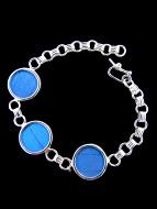 Blue Morpho (Morpho didius) Shimmerwing round link bracelet set in sterling silver.