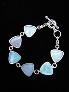 Pearl Blue Morpho (Morpho sulkowski) triangle Shimmerwing bracelet with sterling silver adjustable toggle clasp