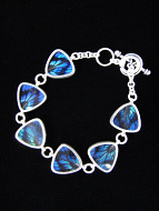 Blue Flash (Ancyluris Meliboeus) triangle Shimmerwing bracelet with sterling silver adjustable toggle clasp