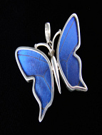 Small Blue Morpho (Morpho didius) Shimmerwing Pendant set in sterling silver butterfly design