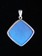 Blue Morpho (Morpho didius) Diamond Shimmerwing Pendant set in sterling silver