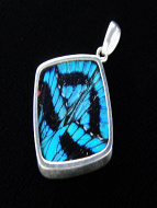 Blue Flash (Ancyluris Meliboeus) Diamond Shimmerwing Pendant set in sterling silver