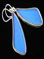 Blue Morpho (Morpho didius) Long Wing Shimmerwing Earrings set in sterling silver