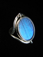Reversible Blue/Sunset Oval Shimmerwing Ring with adjustable band