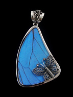 Large Fancy Blue Morpho Sail (Morpho didius) Shimmerwing pendant with butterfly set in sterling silver