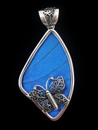 Large Fancy Blue Morpho Fan (Morpho didius) Shimmerwing pendant with butterfly set in sterling silver