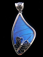 Large Fancy Blue Morpho Wing (Morpho didius) Shimmerwing pendant with butterfly set in sterling silver