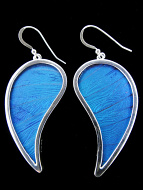 Large Blue Paisley (Morpho didius) Shimmerwing earrings with butterfly set in sterling silver