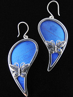 Large Fancy Blue Paisley (Morpho didius) Shimmerwing earrings with butterfly set in sterling silver