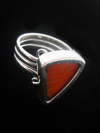 Small Orange & Black (Adelpha ximena) Sail Shimmerwing ring with sterling silver setting