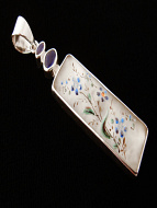 Vintage hand-painted glass and iolite pendant set in sterling silver