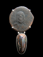 Sterling silver pendant featuring an ancient Byzantine coin set above natural native copper