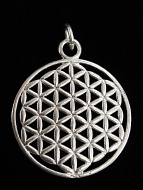 silver-toned brass pendant with Flower of Life design from Sacred Geometry Tradition