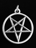 silver-toned brass Pentacle pendant, considered a magical talisman in many ancient traditions