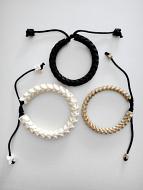 Adjustable Standard Snake Vertebrae Bracelets with black stain, light stain, or natural white finish