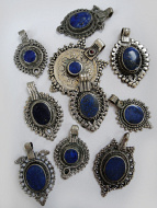 Assortment of ten vintage Tribal Gypsy Lapis Pendants from Afghanistan