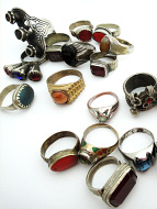 Assortment of ten vintage Tribal Gypsy rings from Afghanistan