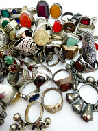 Assortment of 100 vintage Tribal Gypsy rings from Afghanistan