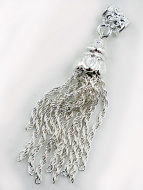 Silver-plated brass tassel with bail