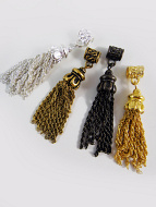 Mix-and-match sterling silver, gold-tone, brass-tone or bronze-tone plated brass tassels with bails.
