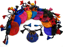 Tiny silk-sari drawstring pouches handmade in Nepal