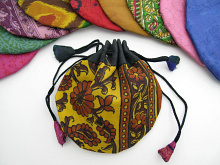 Small silk-sari drawstring pouches handmade in Nepal