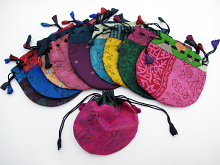 Medium silk-sari drawstring pouches handmade in Nepal