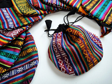 Small cotton drawstring pouches made from traditional handwoven Bhutanese cotten fabric
