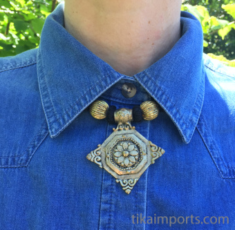 Naga Style Black & Brass Necklace with Diamond pendant - shown being worn