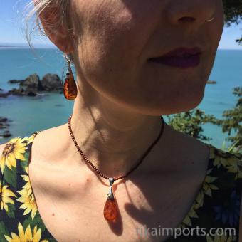 Honey Drop earrings shown being worn with matching Honey Drop pendant