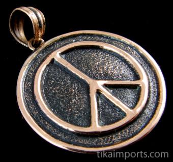 Pure copper amulet pendant featuring the Peace symbol