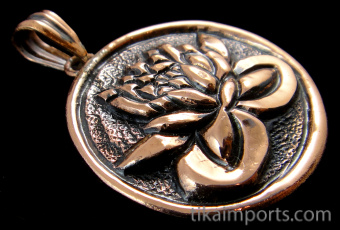Pure copper amulet pendant featuring a lotus blossom