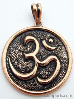 Pure copper amulet pendant featuring the Om symbol