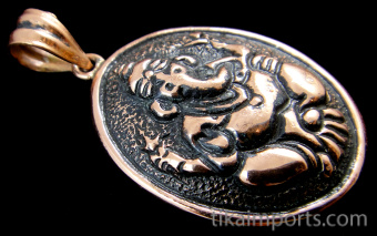 Pure copper oval amulet pendant featuring Ganesh