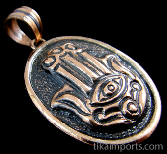 Pure copper amulet pendant with Hand of Fatima