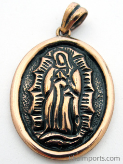 Pure copper amulet pendant with the Virgin of Guadaloupe