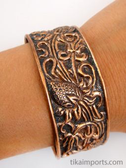 Pure copper cuff bracelet, made using traditional repouse techniques