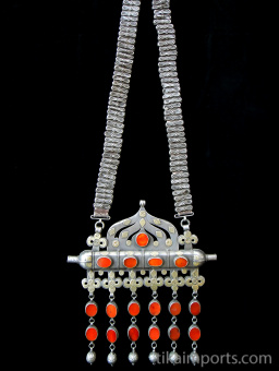 full view of Antique Turkoman Necklace, shown hanging