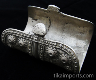 view of underside of Antique Afghani single Silver cuff