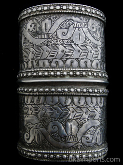 top view of single antique Afghani silver cuff