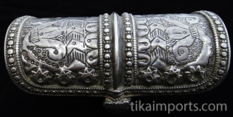 side view of single antique Afghani silver cuff
