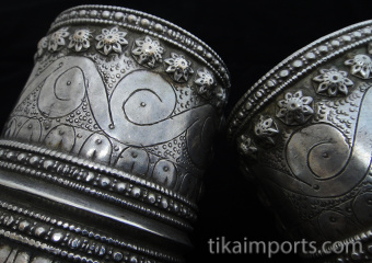 closeup detail of pair of Antique Afghani Silver Cuffs
