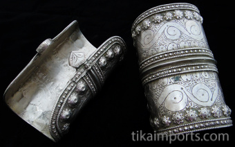Pair of Antique Afghani Silver Cuffs showing the inside of one cuff