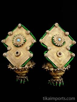 Pair of 19th Century Turkoman Large Ear Ornaments