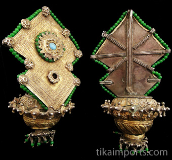 Pair of 19th Century Turkoman Large Ear Ornaments showing front and back