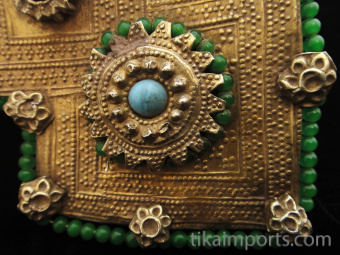 closeup detail of 19th Century Turkoman Large Ear Ornament